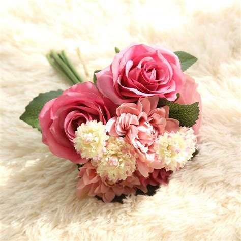 1 Bouquet Artificial Flower Rose Dahlia Chrysanthemum 30cm