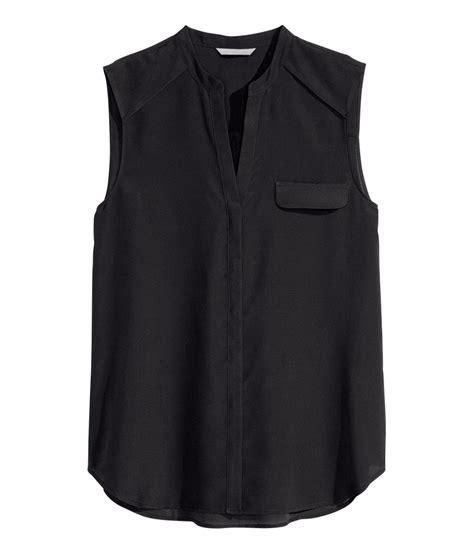 black sleeveless blouse h m sleeveless chiffon blouse in black lyst
