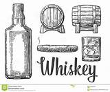 Whiskey Glass Bottle Cigar Barrel Vector Illustration Ice Cubes Whisky Alcohol Drawing Clipart Background Drink Bourbon Clip Coloring Scotch Line sketch template