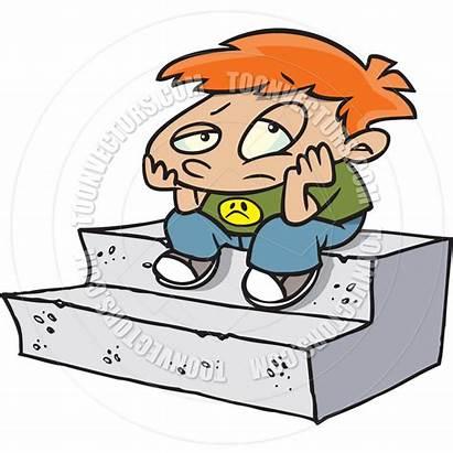 Bored Cartoon Boy Clipart Sitting Boring Steps