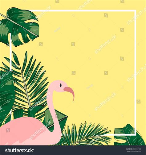 tropical wild templat tropical leaves flamingo template background