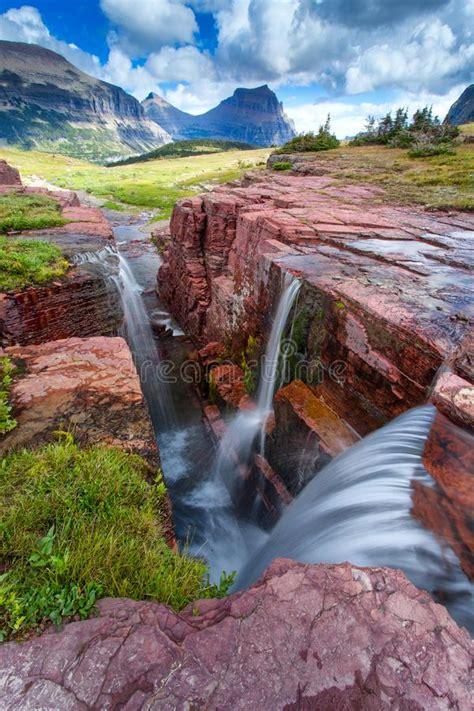 waterfall  hidden creek glacier national park montana