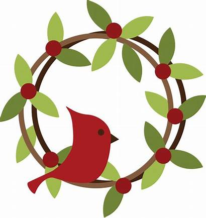 Wreath Clipart Christmas Svg Bird Clip Cardinal