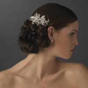 Swarovski Crystal Floral Side Comb Elegant Bridal Hair