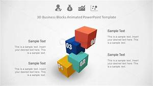 4 Steps Powerpoint 3d Model Blocks