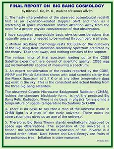 Final Investigative Report On Big Bang Cosmology