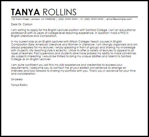 english lecturer cover letter sample cover letter