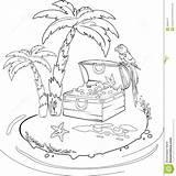 Island Treasure Coloring Oasis Dreamstime sketch template