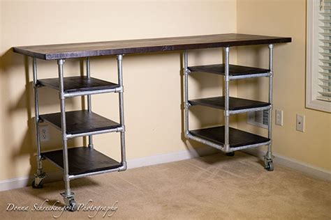 iron pipe desk plans industrial pipe desk shelving plans simplified building