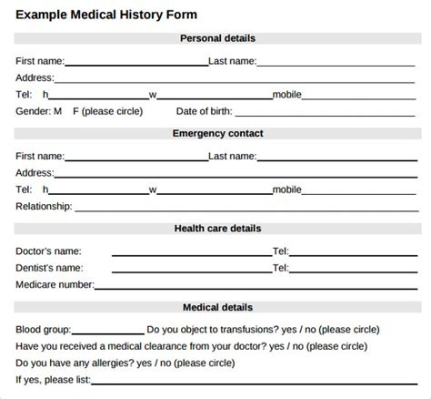 History Form Template Pdf by Form Exle Form Templates