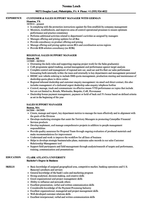 Exle Of Sales Resumes by Sales Support Resume Resume Ideas