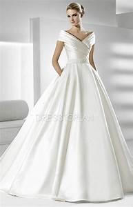 queen anne necklines a line ball gown chapel train wedding With robe de mariée classique
