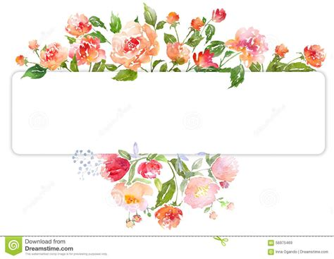 Floral Border Clip Watercolor Clipart Flower Border Pencil And In Color