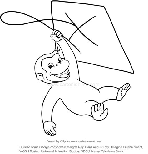 drawing george   kite curious george coloring page