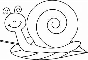 Black and White Snail on a Leaf Clip Art - Black and White ...