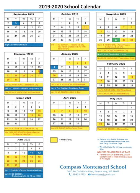 school year calendar compass montessori school federal