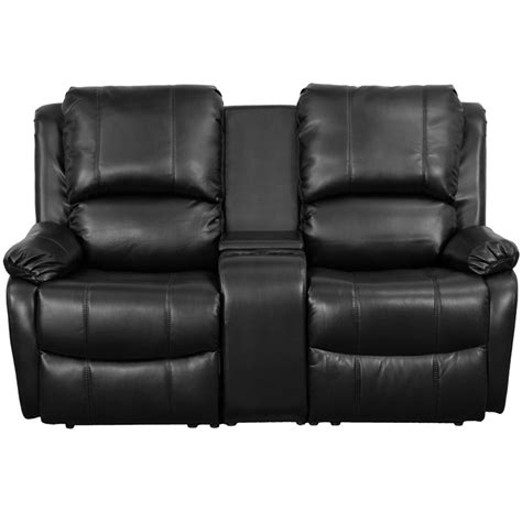 theaters with recliners flash furniture black leather pillowtop 2 seat home
