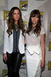 Kate Beckinsale And Jessica Biel At Total Recall Press Conference At Comic