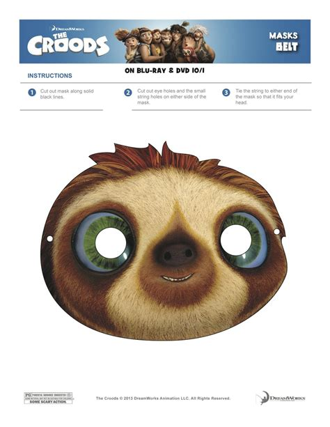 sloth mask template the croods coloring sheets printable masks a s take