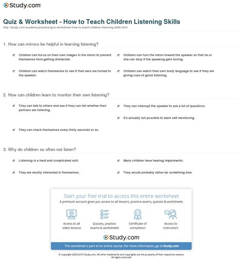 Quiz & Worksheet  How To Teach Children Listening Skills Studycom