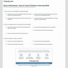 Quiz & Worksheet  How To Teach Children Listening Skills Studycom