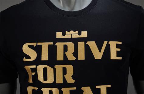 mens clothing nike sportswear lebron strive  greatness tee black metallic gold black