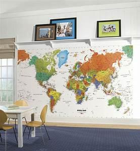 New WORLD MAP PREPASTED WALLPAPER MURAL Kids Room Decor ...