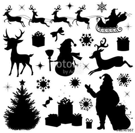 collection   christmas silhouettes stock image