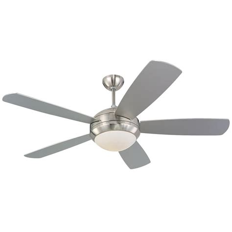 silver ceiling fan with light monte carlo discus 52 in brushed steel silver ceiling fan