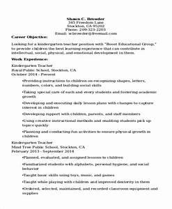 20 teacher resume templates pdf doc free premium With kindergarten teacher resume