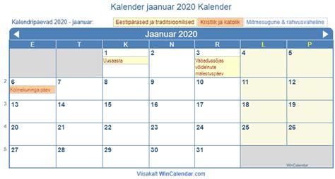 eesti truekkimise kalender jaanuar