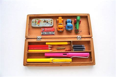 vintage wooden pencil case  kids  storage box