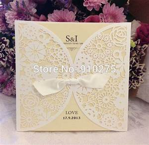 aliexpresscom buy vintage diy laser cut lace flower With lace cover wedding invitations
