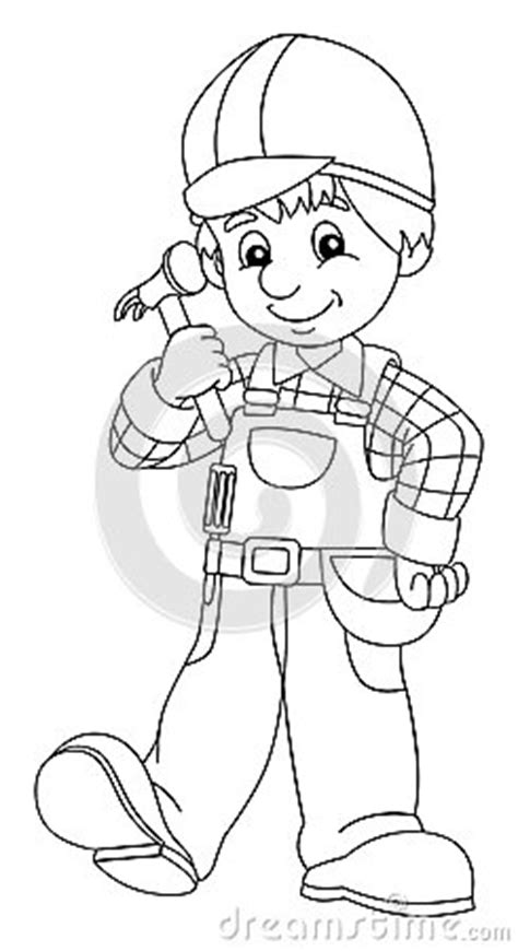 coloring plate construction worker illustration