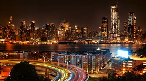 wallpaper cityscape  jersey  york city night