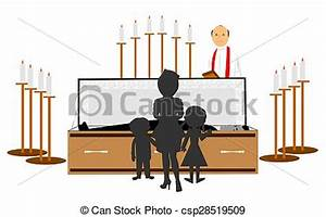 Stock Illustration of funeral of family memeber - wife and ...