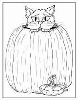 Halloween Cat Coloring Pumpkin sketch template