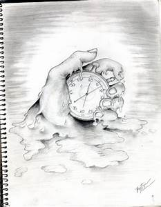 "Pencil sketch of melting hand and clock. Titled ""Time ..."