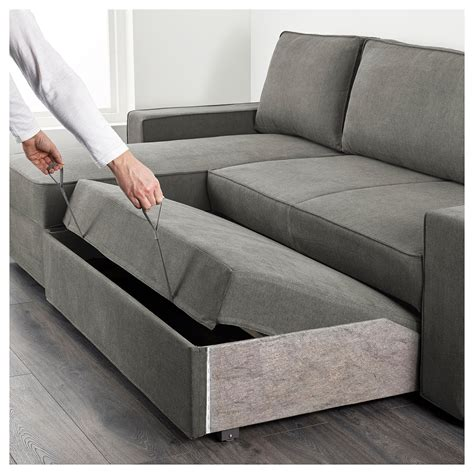 vilasund sofa bed with chaise longue borred grey green ikea