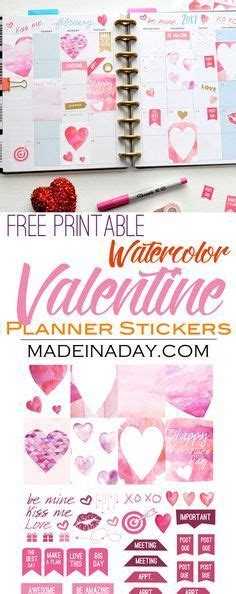 Cupid shoots his arrows and couples fall in love. February Watercolor Valentine FREE Printable Planner ...