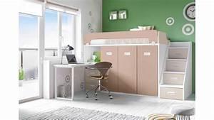 Lit Avec Bureau : lit mezzanine avec bureau moderne et fun glicerio so nuit ~ Teatrodelosmanantiales.com Idées de Décoration