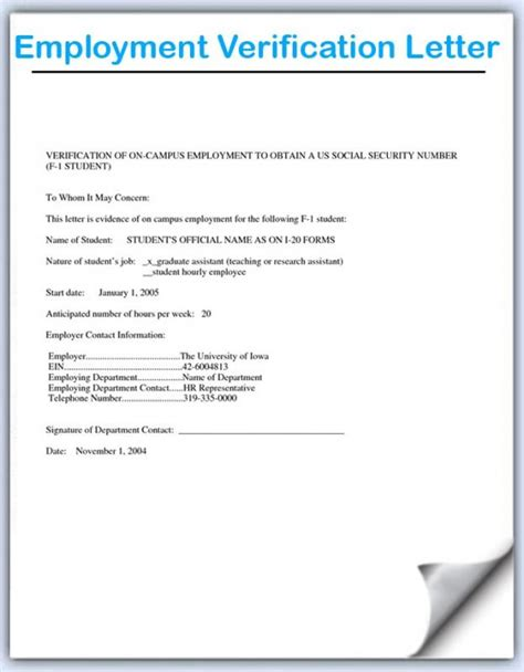 employment verification letter sample template business