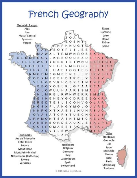 prep geography  france french geography word search