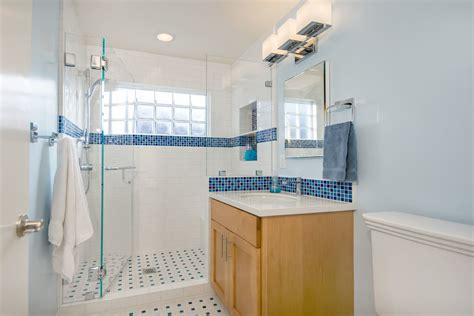 Blue Mosaic Tile Bathroom Traditional With Blue Blue And