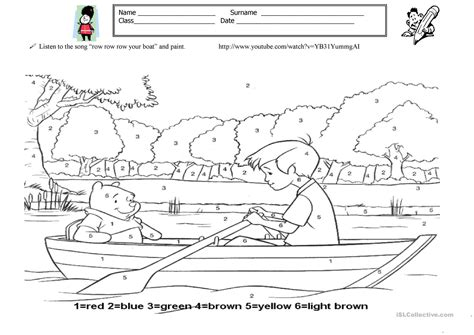 Row Row Your Boat Worksheet by Piant Row Your Boat Worksheet Free Esl Printable