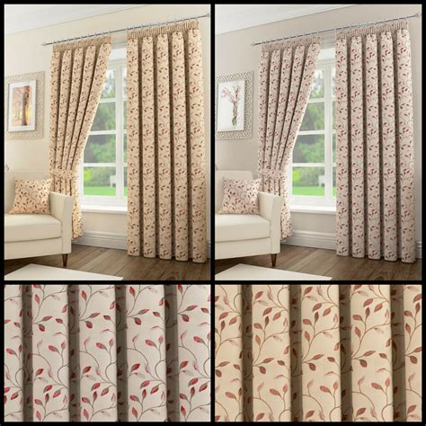 sherwood floral leaf pair  pencil pleat lined curtains
