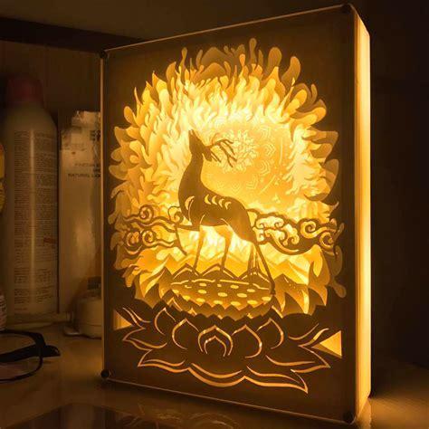 rustic ceiling fans 3d deer papercut light boxes shadow box led light