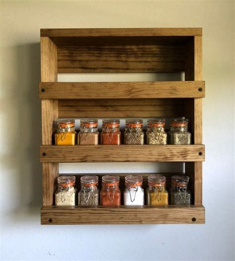 Spice Rack Wall Shelf kitchen spice rack wooden wall mounted spice storage wood