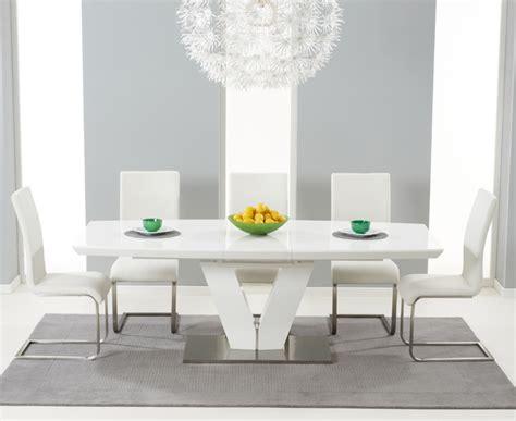high glass dining table xander white high gloss v shape 7 piece extending dining
