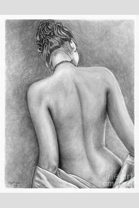 Original Pencil Drawing Nude Female Www.olgabell.ca Drawing by Olga Bell
